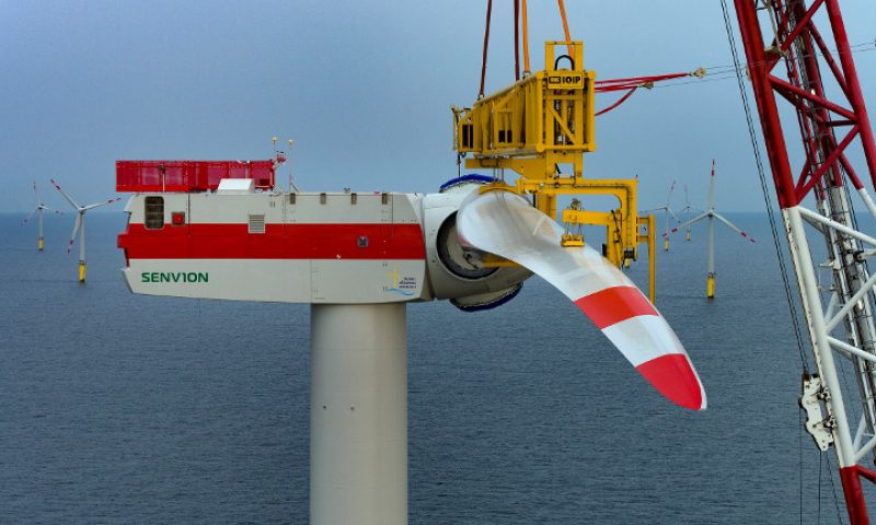 Offshore wind farm blade installation senvion wind turbine, blue tern installation vessel