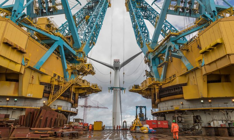 Saipem 7000 Offshore Wind installing Wind Turbine