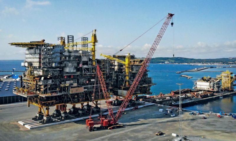 Allseas Pioneering Spirit Total's Tyra Redevelopment