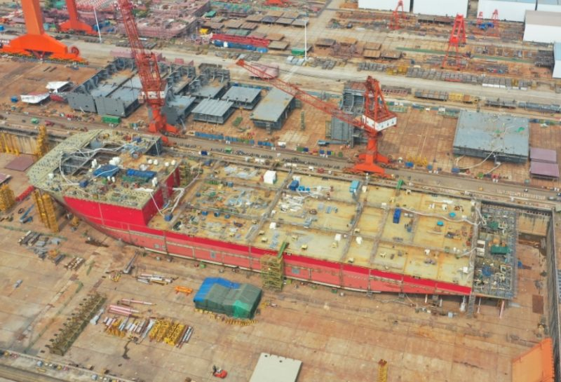 OHT Alfa Lift vessel under construction at CMHI'S shipyard in China.