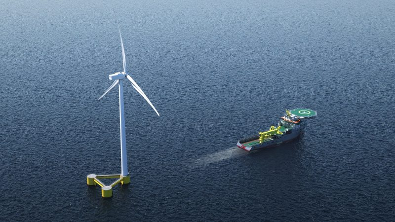 Artist impression floating windturbine towed by anchore handler