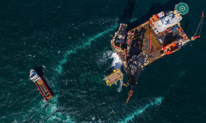 Heerema's Sleipnir Lifting Alpha Jacket for Offshore Wind Farm