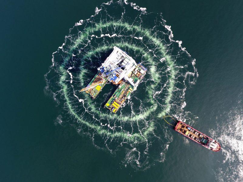 Van Oord Svanen Offshore Monopile Installation Danish Kriegers Flak Offshore Wind Farm