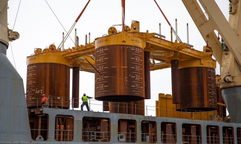 SAL Trina offloading Johan Castberg subsea templates at Polarbase, Hammerfest