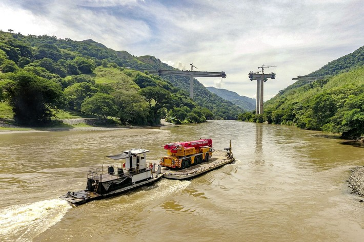 Liebherr 5-Axle Crane Floated to Site on a Barge