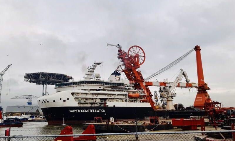 Saipem Constellation Spotted Leaving Huisman after Brand New Upgrade