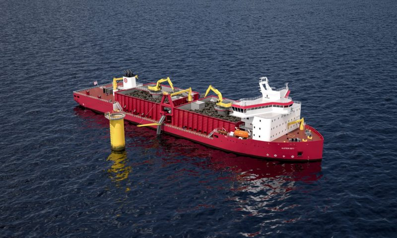 Jones Act compliant, inclined fallpipe vessel for subsea rock installation