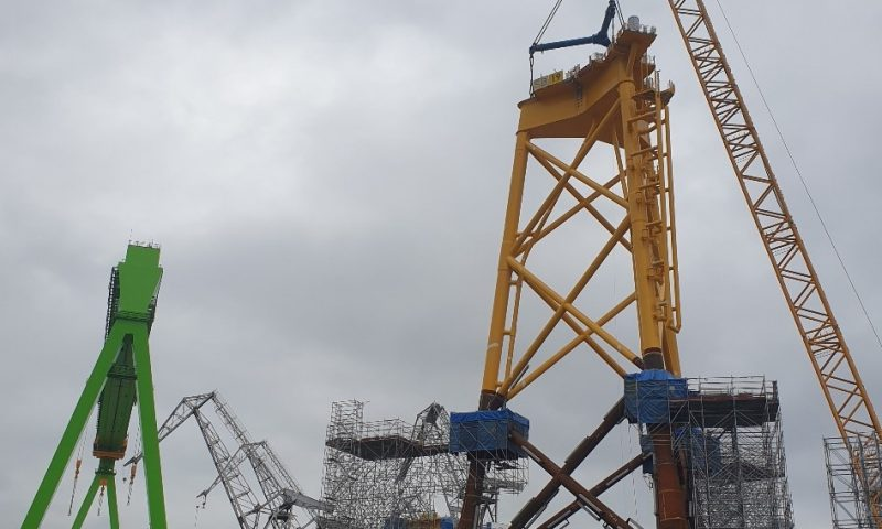 Navantia Finalizes Construction of First Jacket for Saint Brieuc Wind Farm