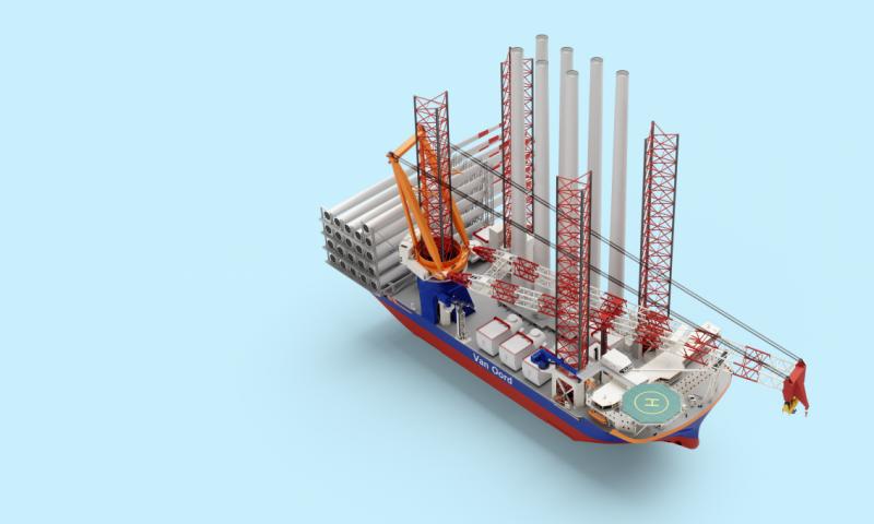 Van Oord Orders Mega Wind Foundations and Turbines Installation Vessel Ship